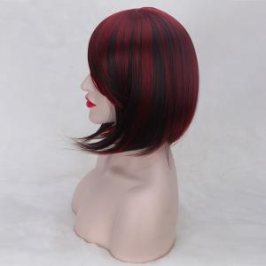 Short Oblique Bang Straight Double Color Synthetic Wig - RED/BLACK