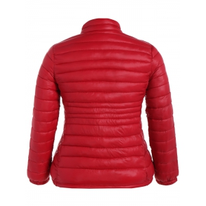 Plus Size Double Pocket Quilted Jacket -