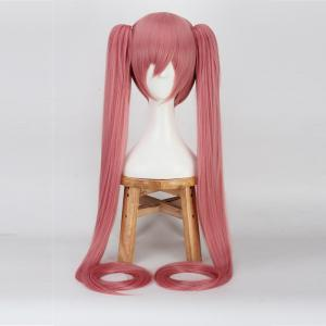 Long Full Bang Straight with Bunches Miku Cosplay Synthetic Wig - WATERMELON