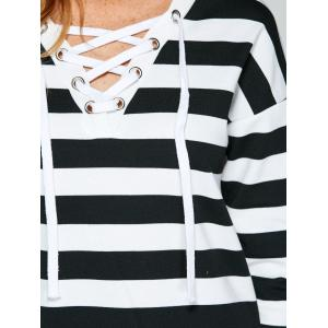 Two Tone Striped Lace Up T-Shirt -