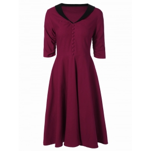 Vintage Button Embellished Contrast Dress