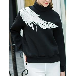 Two Tone Pullover Wing Printed Sweatshirt -