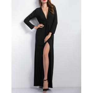 Long Sleeve Plunge Slit Maxi Cocktail Dress