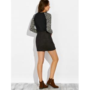 Raglan Sleeve Leopard Print Pocket Design Sweatshirt -