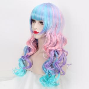 Colored Long Neat Bang Wavy Cosplay Lolita Synthetic Wig -