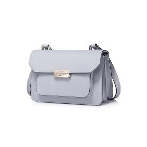 Metal Textured Leather Crossbody Bag -