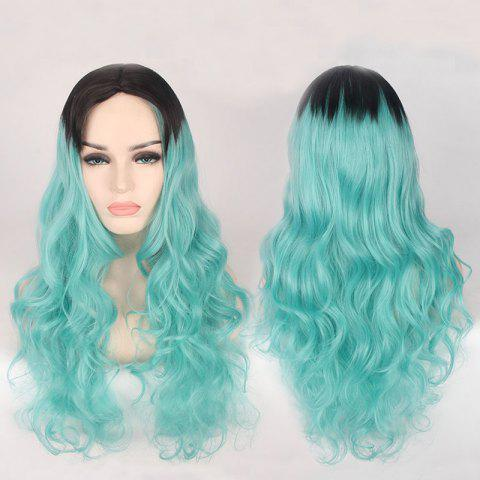Double Color Long Centre Parting Wavy Cosplay Synthetic Wig - BLUE/BLACK
