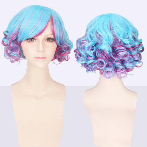 Latest Double Color Short Side Bang Curly Cosplay Synthetic Wig BLUE AND RED