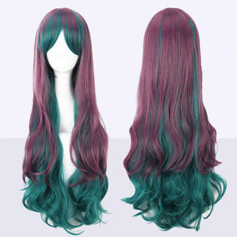 Long Side Bang Bouffant Ombre Color Wavy Cosplay Synthetic Wig - COLORMIX