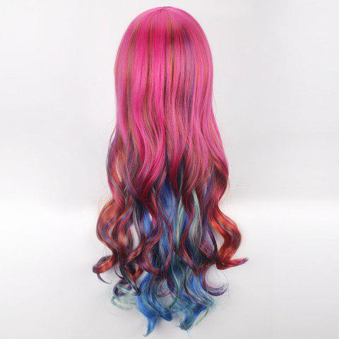 Online Colorful Long Side Bang Wavy Cosplay Synthetic Wig - COLORFUL  Mobile