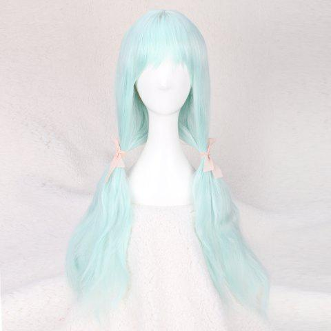 Discount Long Full Bang Slightly Curled Fairy Cosplay Synthetic Wig - WINDSOR BLUE  Mobile