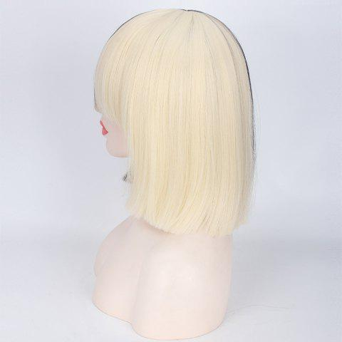 Fashion Double Color Short Full Bang Straight Sia Cosplay Synthetic Wig - YELLOW AND BLACK  Mobile