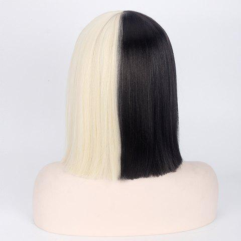 Shops Double Color Short Full Bang Straight Sia Cosplay Synthetic Wig - YELLOW AND BLACK  Mobile