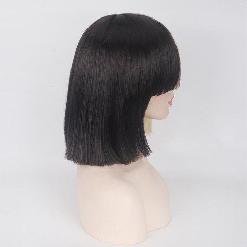 Hot Double Color Short Full Bang Straight Sia Cosplay Synthetic Wig - YELLOW AND BLACK  Mobile