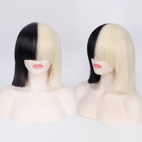 Discount Double Color Short Full Bang Straight Sia Cosplay Synthetic Wig - YELLOW AND BLACK  Mobile