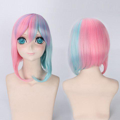 Online Rainbow Short Side Bang Straight Cosplay Lolita Synthetic Wig