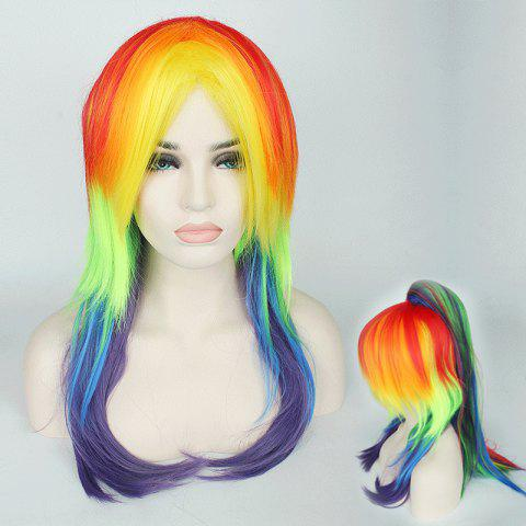 Trendy Rainbow Long Tail Adduction with Ponytail My Little Pony Cosplay Synthetic Wig COLORFUL