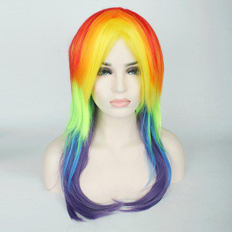 Unique Rainbow Long Tail Adduction with Ponytail My Little Pony Cosplay Synthetic Wig - COLORFUL  Mobile