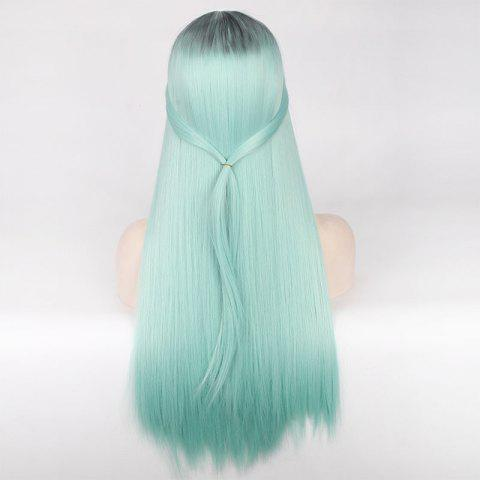 Fashion Double Color Long Centre Parting Straight Cosplay Synthetic Wig - BLUE AND BLACK  Mobile