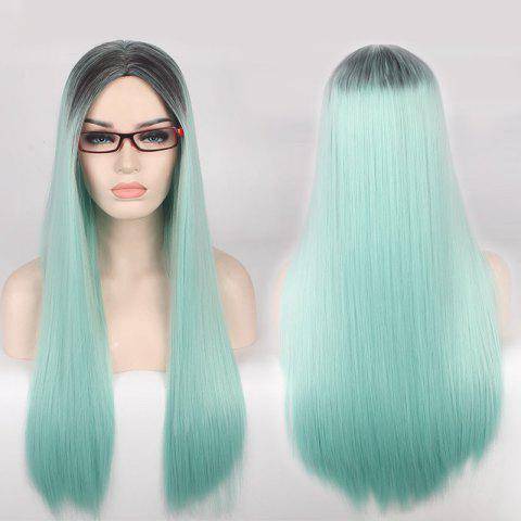 Double Color Long Centre Parting Straight Cosplay Synthetic Wig - Blue And Black