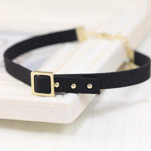Outfit Concise Faux Leather Alloy Choker -   Mobile