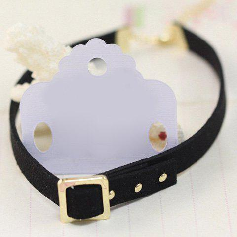 Chic Concise Faux Leather Alloy Choker -   Mobile