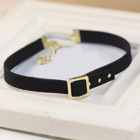 Shops Concise Faux Leather Alloy Choker -   Mobile