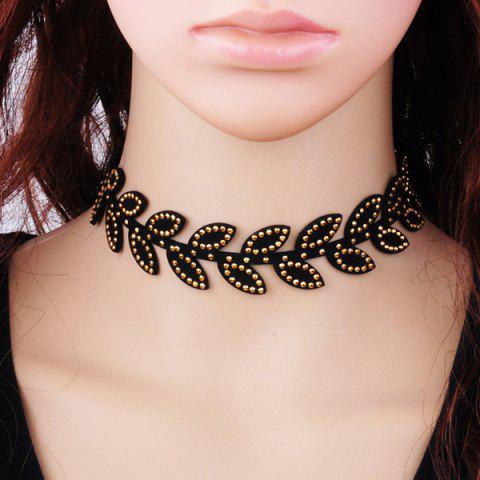 Outfit Leaf Rhinestone Velvet Choker Necklace - BLACK  Mobile