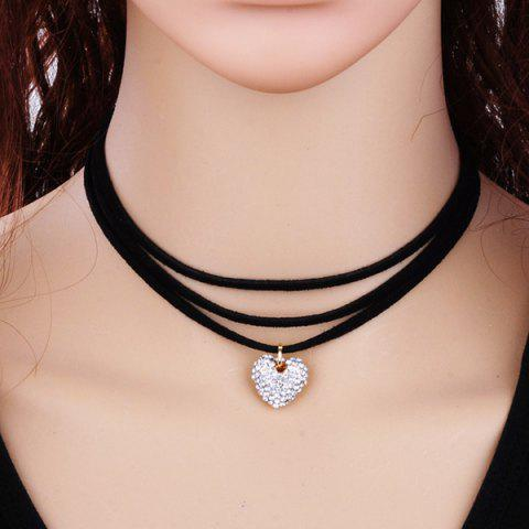 Layered Velvet Heart Choker Necklace - Black