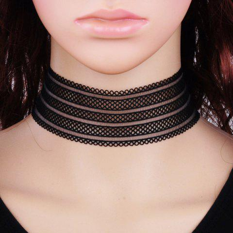 Lace Wide Band Choker Necklace - BLACK