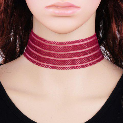 Shops Lace Wide Band Choker Necklace - RED  Mobile