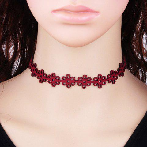 Unique Hollow Out Velvet Floral Choker Necklace - RED  Mobile