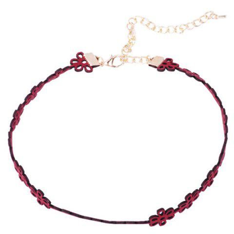 Fashion Hollow Out Velvet Floral Choker Necklace - RED  Mobile