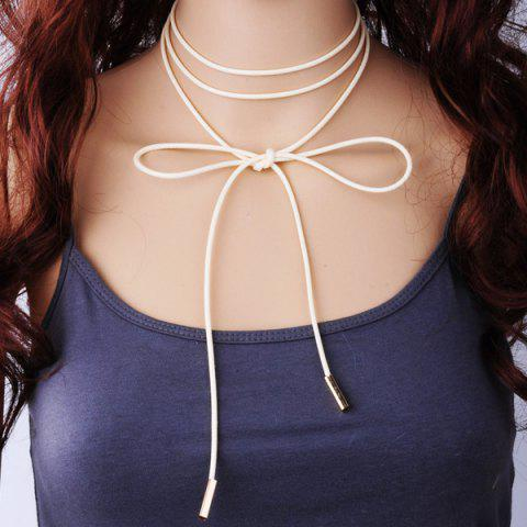 Shop Layered PU Rope Tie Choker Necklace
