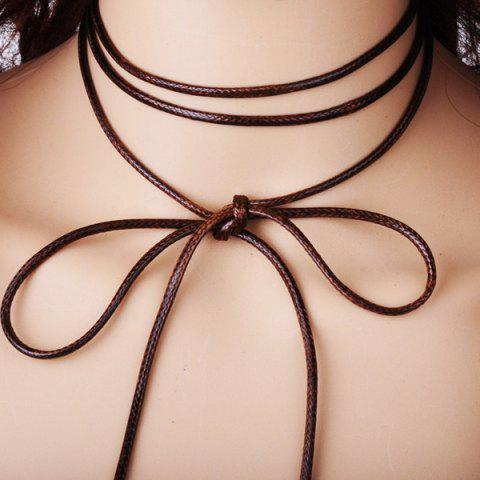 Latest Layered PU Rope Tie Choker Necklace - COFFEE  Mobile