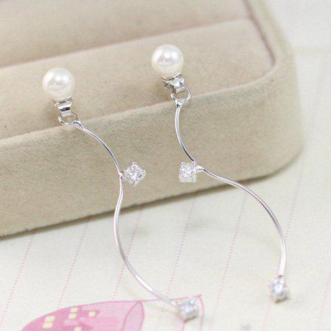 Trendy Faux Pearl Zircon S Shape Earrings - SILVER  Mobile