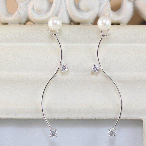 Affordable Faux Pearl Zircon S Shape Earrings - SILVER  Mobile