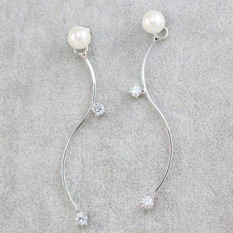 New Faux Pearl Zircon S Shape Earrings - SILVER  Mobile