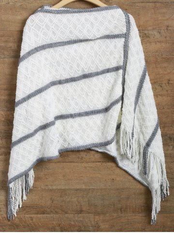 Outfit Striped Asymmetrical Fringed Poncho Sweater