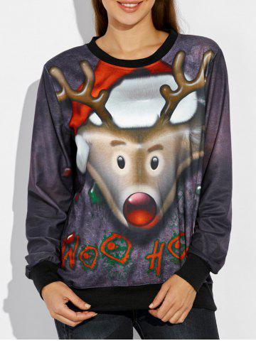 Affordable Christmas 3D Reindeer Print Sweatshirt DEEP GRAY XL
