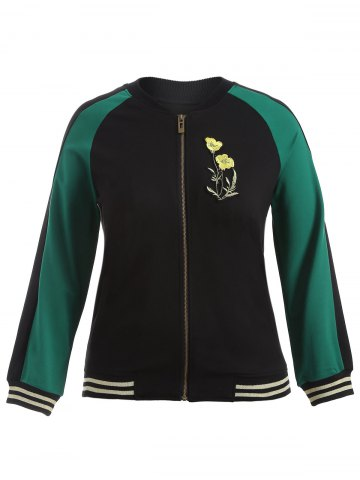 Outfit Plus Size Embroidered Baseball Jacket