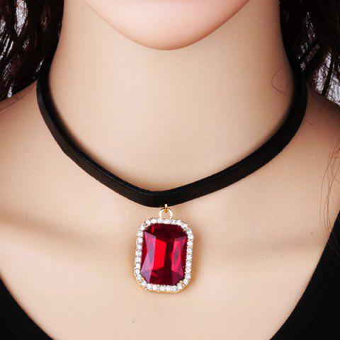 New Rounded Rectangle Rhinestone Choker Necklace