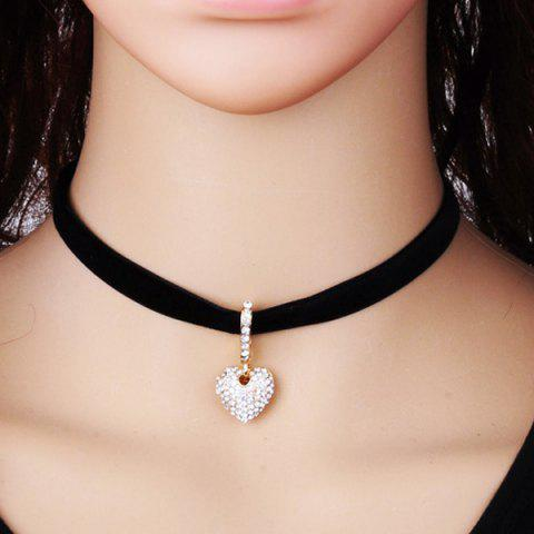 Rhinestone Heart Velvet Choker Necklace - Black