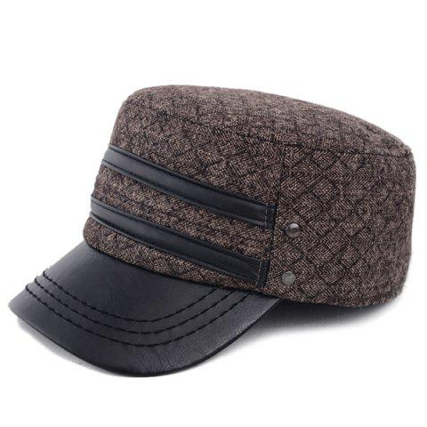 Cheap Outdoor Winter Double PU Leather Band Rhombus Ear Warmer Hat