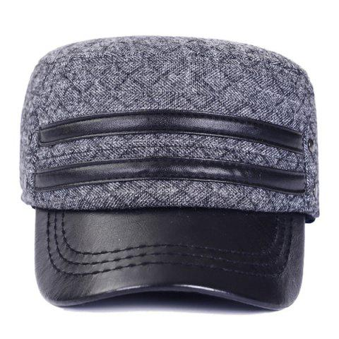Store Outdoor Winter Double PU Leather Band Rhombus Ear Warmer Hat - GRAY  Mobile