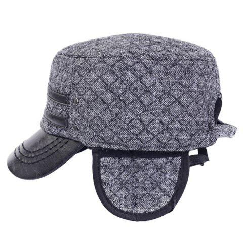 Buy Outdoor Winter Double PU Leather Band Rhombus Ear Warmer Hat - GRAY  Mobile