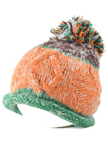 New Multi Color Knit Ball Rolled Edge Beanie GREEN