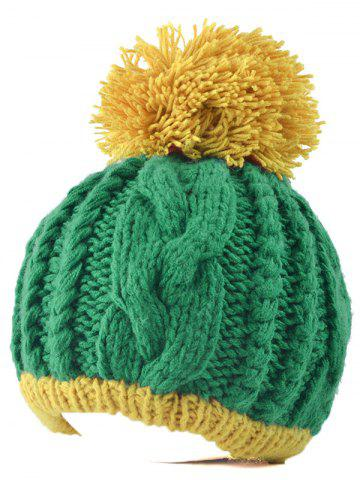 Fancy Twist Knit Double Color Ball Beanie GREEN