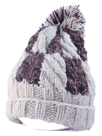 Sale Flanging Check Pattern Ball Top Beanie OFF WHITE