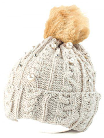 Fashion Flanging Faux Pearl Knit Ball Beanie BEIGE